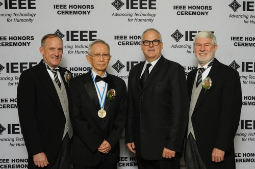 (left to right) IEEE President-Elect Barry Shoop, Dr. Takuyo Aoyagi ,  IEEE EMB President Andrew Laine and IEEE President Howard Michel.